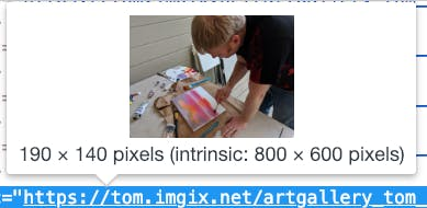 browser dev tools showing size of displayed image as well as size of the loaded image