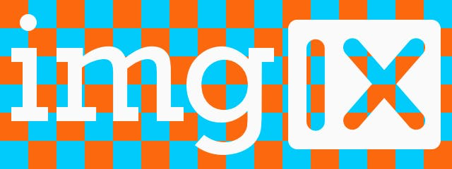 imgix logo with blue and orange transparency grid