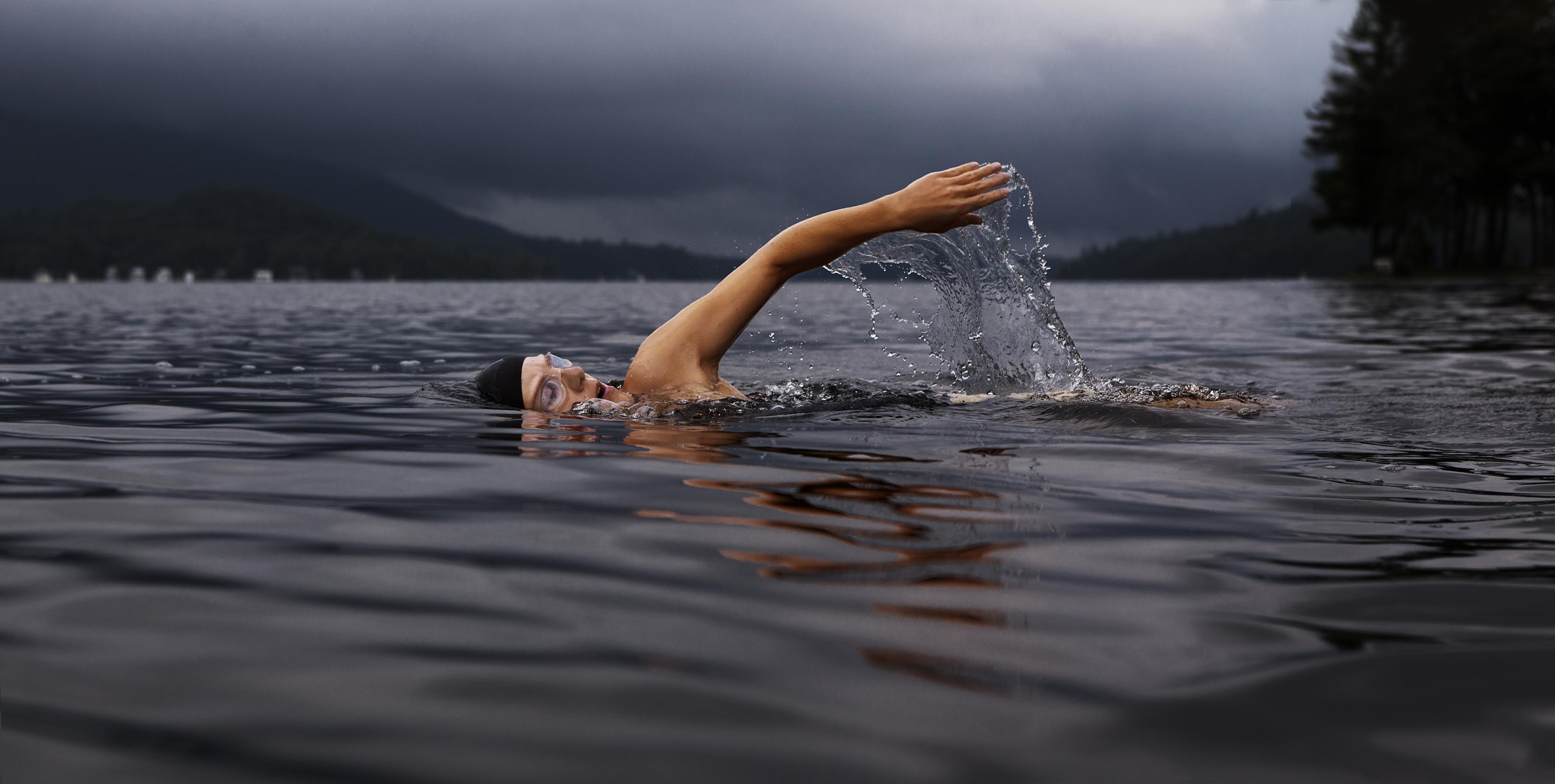 Serving swimmer