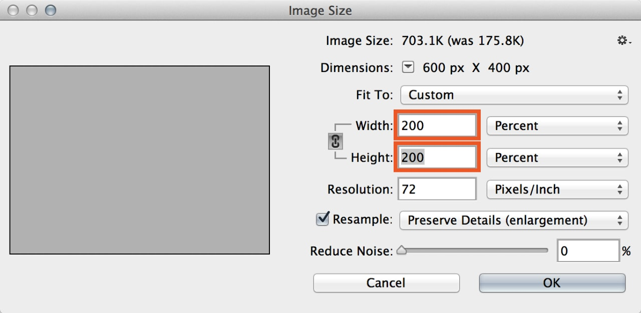 Screenshot—Scaling the smart object to 200%