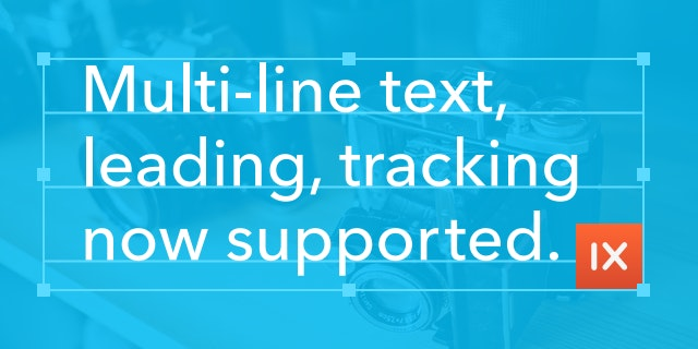 Multi-line text, leading, tracking supported